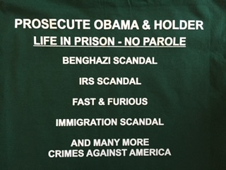 "5  T- Shirt ""Prosecute Obama & Holder"""